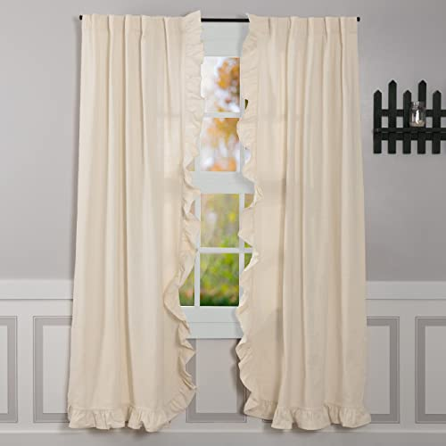 Piper Classics Ashley Natural Ruffled Panel Curtain