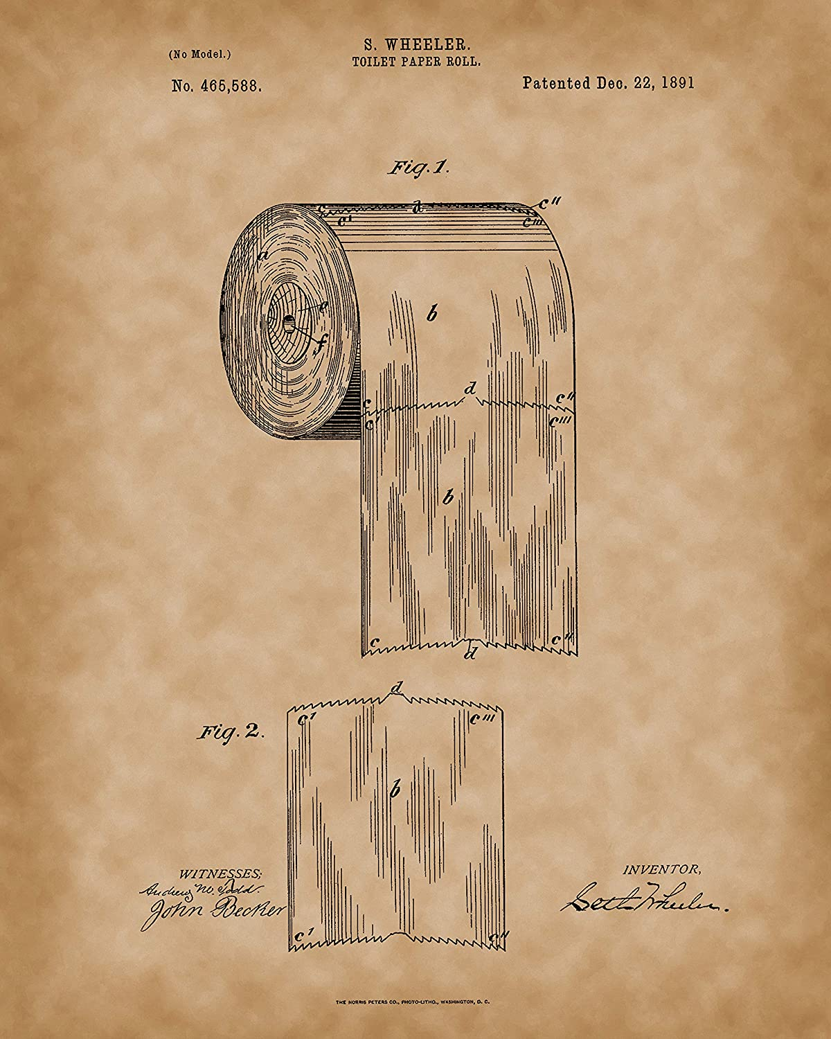 1891 First Toilet Paper Roll US Patent Art Print READY TO FRAME!