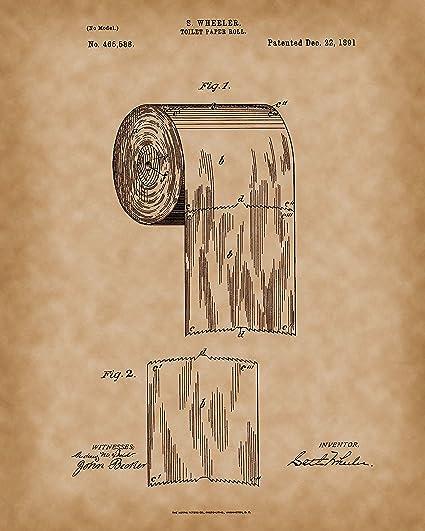 Rollo de papel higiénico 1891 impreso – original baño patente arte ...