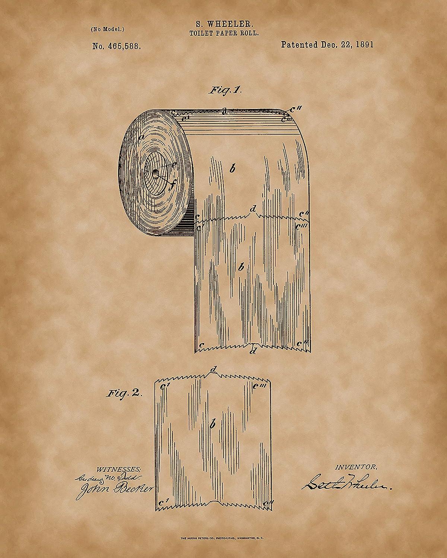 Amazon.com: Toilet Paper Roll 1891 Print - Original Bathroom Patent ...