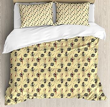 Skulls Dekorationen Bettbezug Set By Ambesonne Old School Style