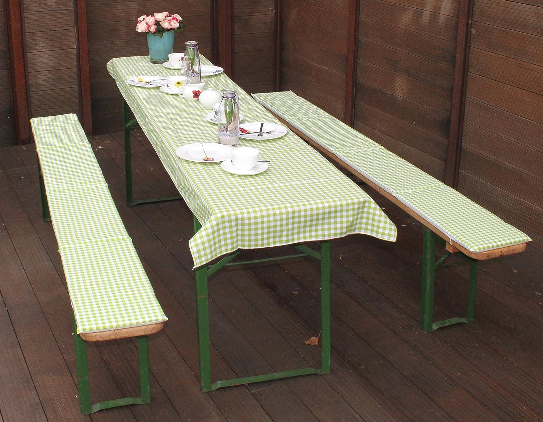 beo Festzeltauflagen Set inklusiv Tischdecke kariert Bankauflage, circa 220 x 25 x 2,5 cm und 240 x 70 cm, grün/weiß/mehrfarbig