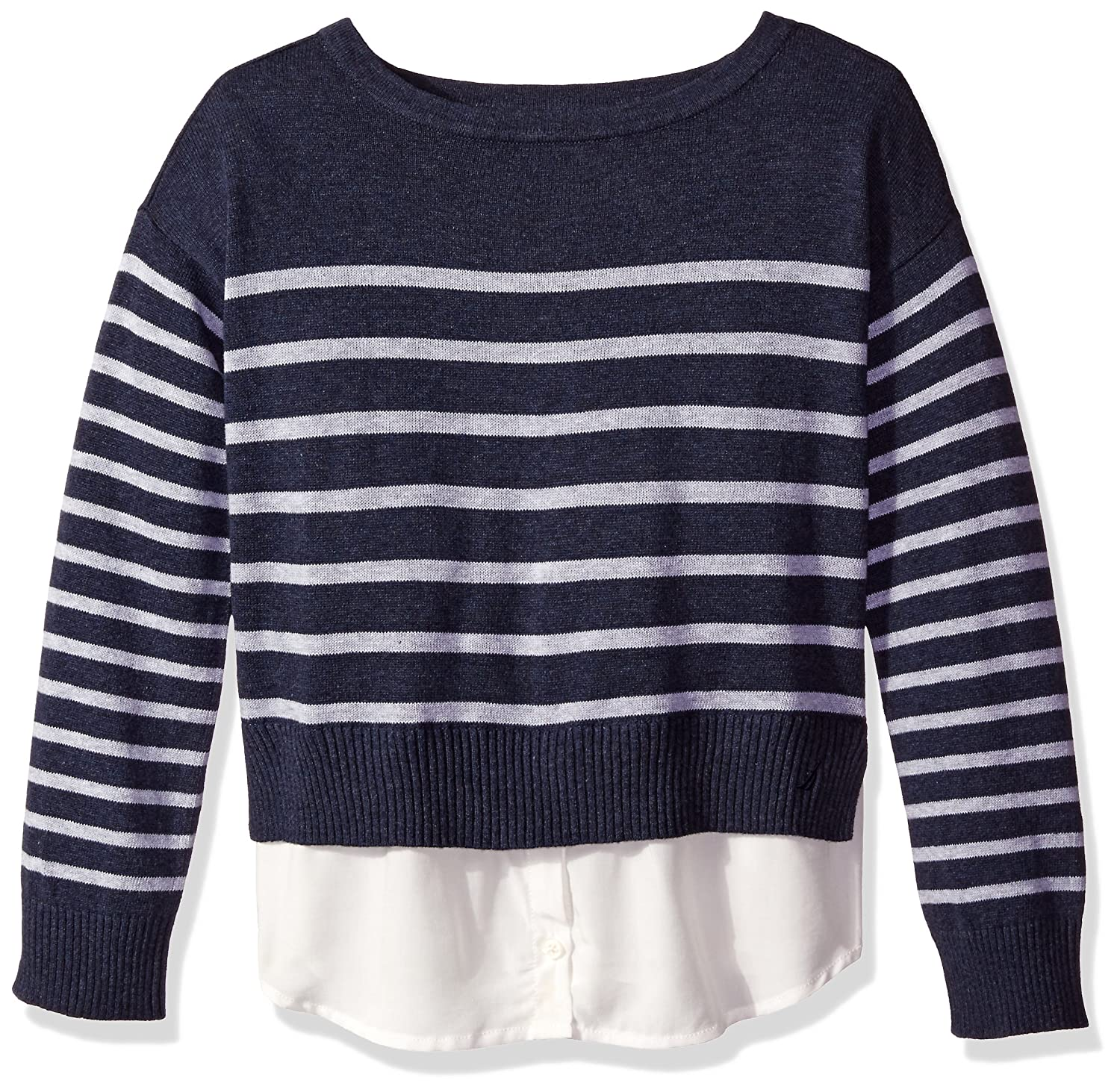 Nautica Girls Sweater with Light Weight Woven Hangdown C0055Q