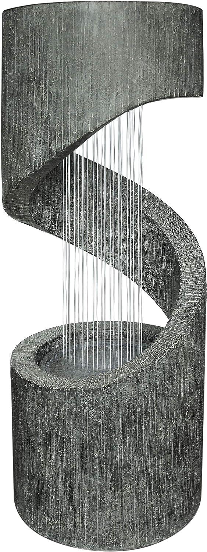 Dehner Mali - Fuente de jardín con iluminación LED, Aprox. 79,5 x 31,5, poliresina, Color Gris