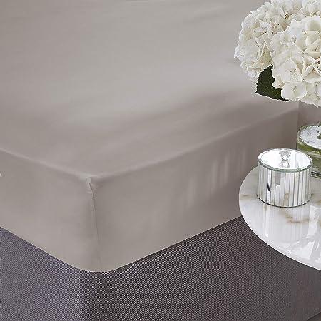 Silentnight, sábana Ajustable de algodón Egipcio, Color Blanco, algodón, Piedra, Doble (135 × 190 cm): Amazon.es: Hogar