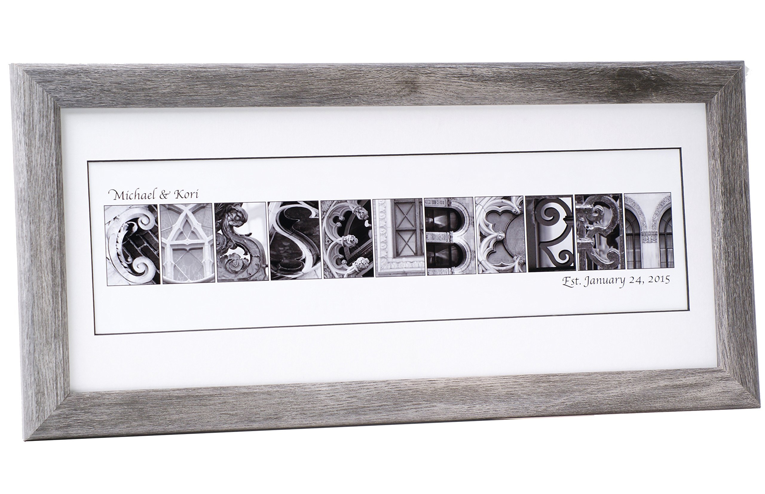 Personalized Name Sign Plaque with 12 by 26 inch Driftwood Frame created with Black and White Architectural Alphabet Photographs for Personalized Gift, Wedding, Graduation, Anniversary, Childrens Name
