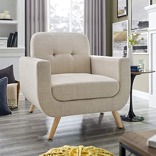 Millbury Home Elena Modern Fabric Contemporaty Armchair Singer Sofa for Living Room Furniture, Cream