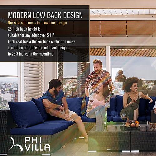 PHI VILLA Outdoor Sectional Furniture 4 Piece Patio Sofa Set Low-Back Rattan Wicker Conversation Set