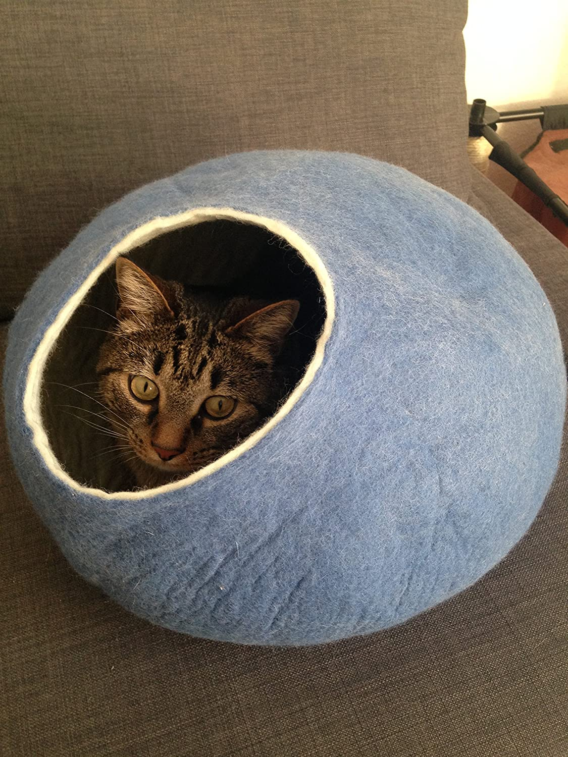 Cat Bed, House, Cave, Nap Cocoon, Handmade , Sky Blue Large