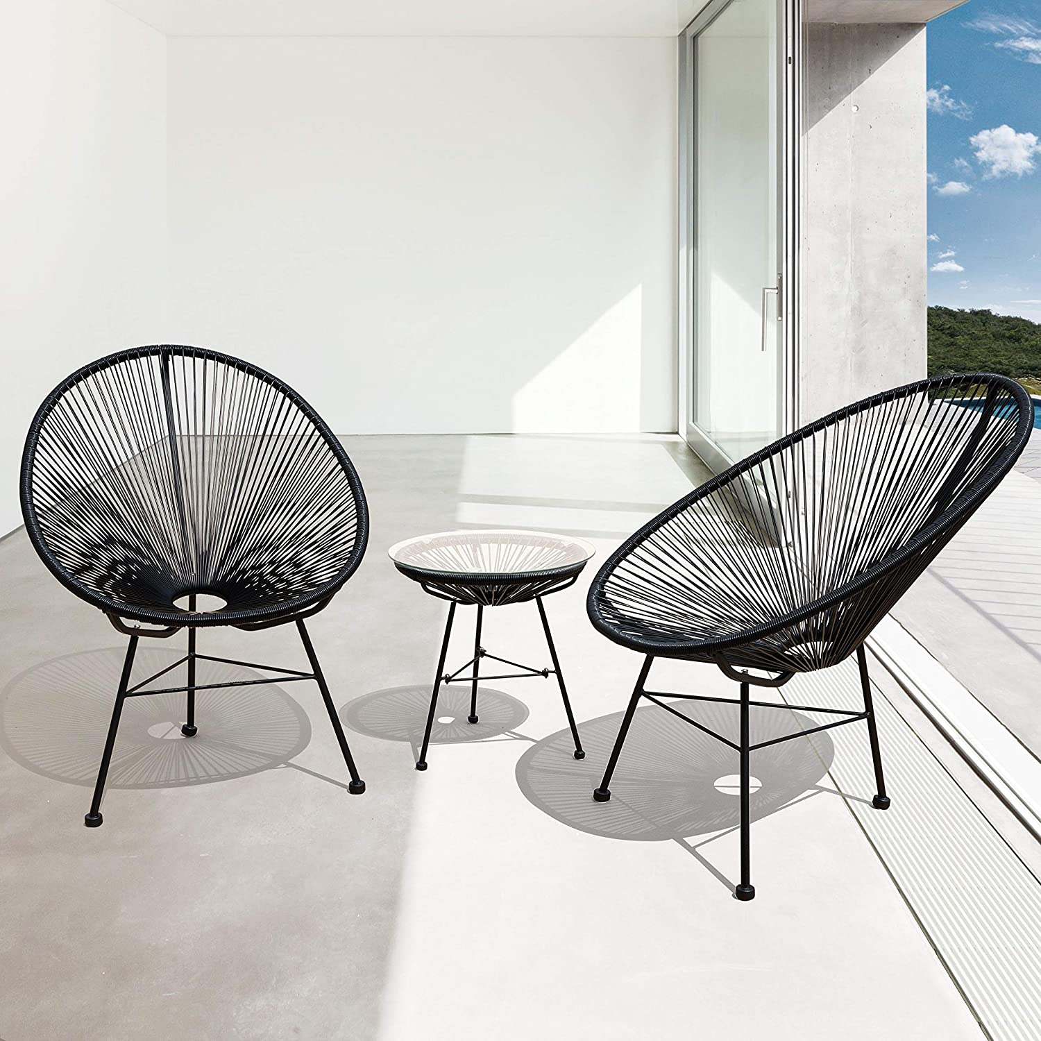 Corvus Sarcelles Modern Wicker Patio Chairs by Set of 2 – Black