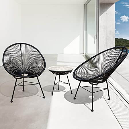 Amazon Com Corvus Sarcelles Modern Wicker Patio Chairs By Set Of 2 Black Garden Outdoor