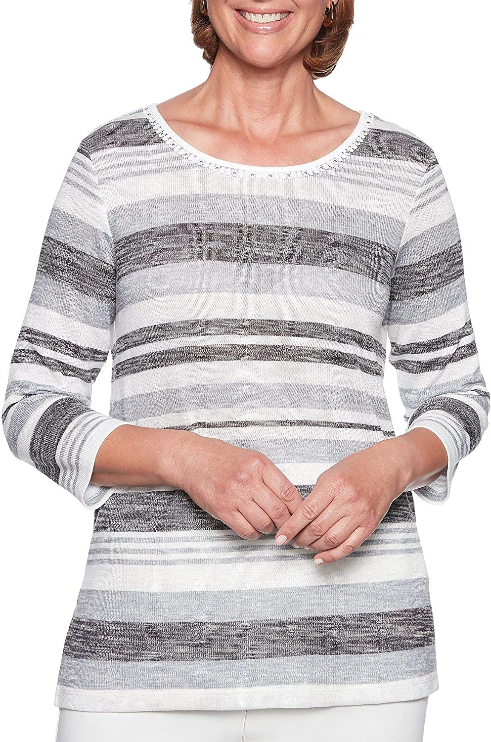 Alfred Dunner Stocking Stuffers Space Dye Stripe Top