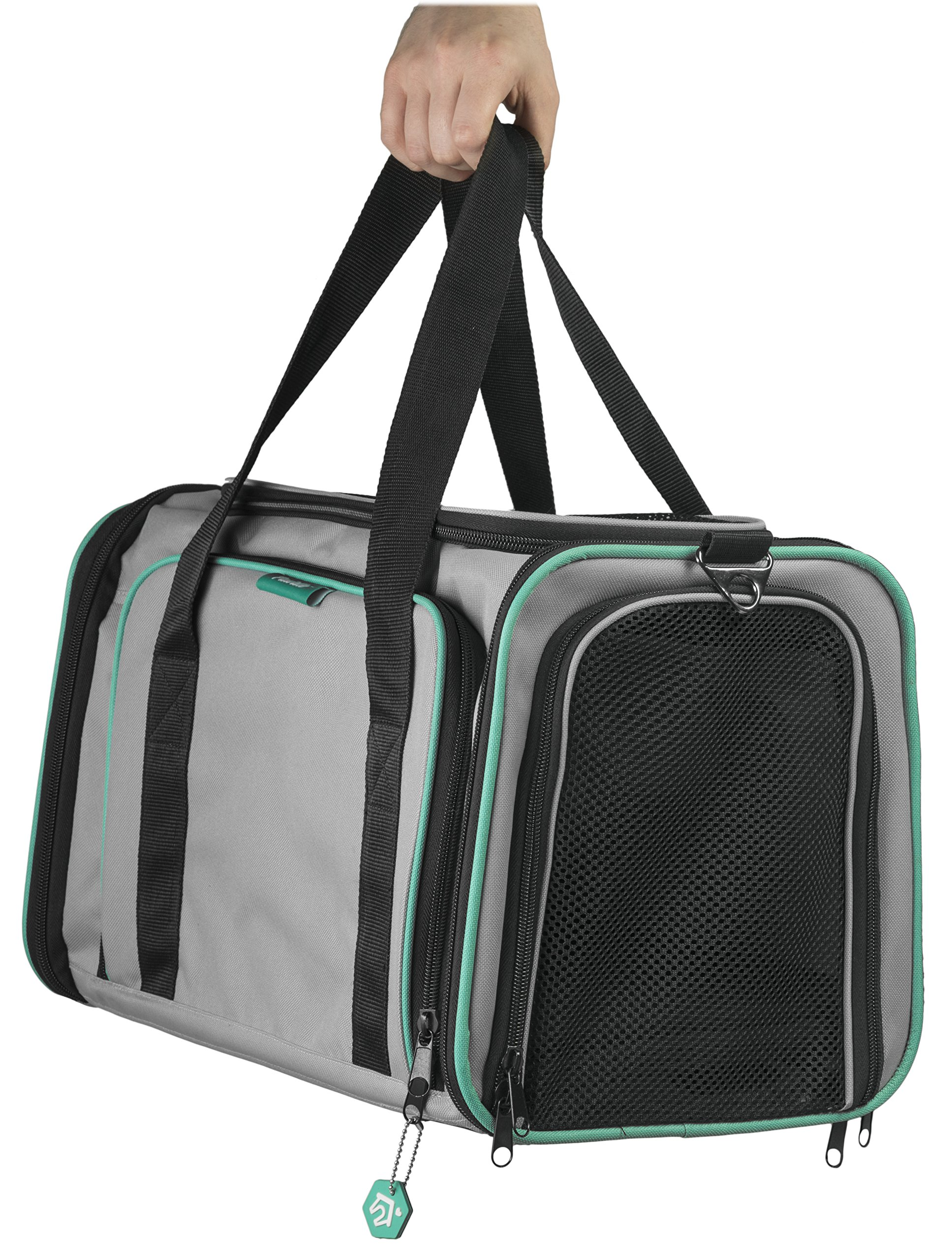 Pawdle Expandable and Foldable Pet Carrier Domestic Airline Approved (Heather Gray) by Pawdle (Image #3)