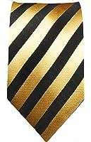 Paul Malone skinny necktie (6cm width) black gold striped men´s tie (regular & extra long length)