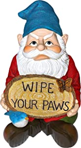 Mood Lab Garden Gnome - Wipe Your Paws Sign Gnome - 9.25 Inch Tall Sitting Figurine - Lawn Decor Statue