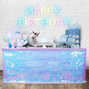 Bluekate Iridescent Table Skirts for Rectangle Tables 9ft. Payette Sequin Tablecloth with Changeable Trim! Unicorn Party Supplies, Unicorn Table Skirt. Under The Sea Decorations, Mermaid Decor
