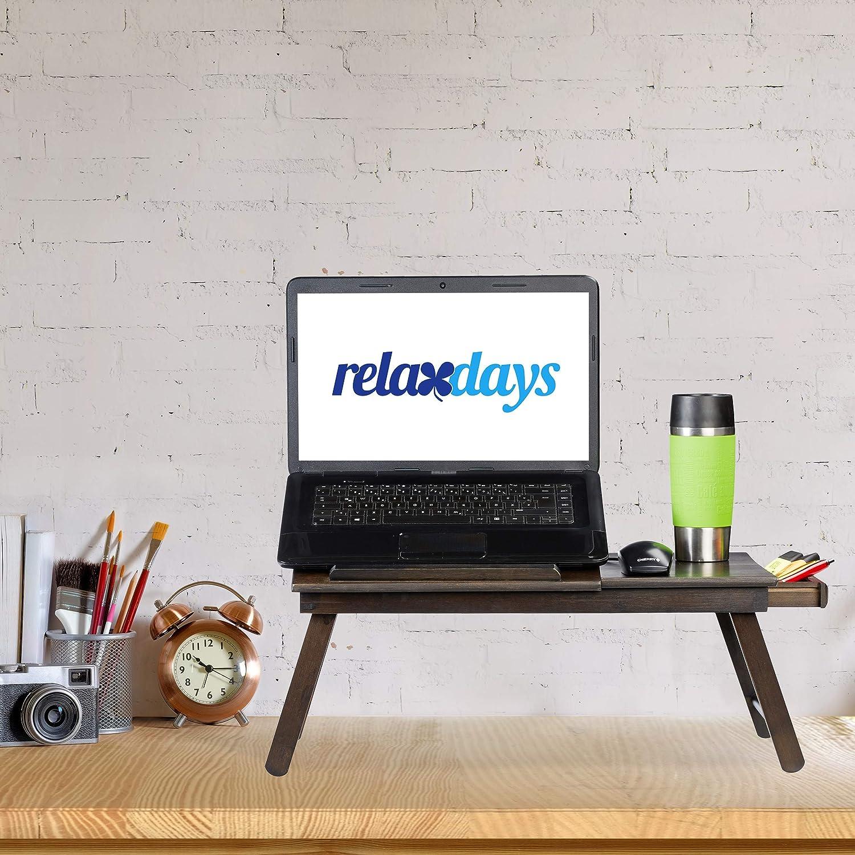HBT: 25x60x35cm klappbar dunkelbraun h/öhenverstellbare Laptopablage mit Schublade Relaxdays Bambus Laptoptisch