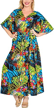 81c6a62d3 LA LEELA Mujeres caftán túnica 3D HD Impreso Kimono Libre tamaño Largo  Abaya Vestido Jalabiyas de
