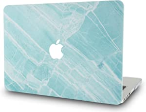 LuvCaseLaptopCaseforMacBookAir 13 Inch A1466 / A1369 (No Touch ID)RubberizedPlasticHardShellCover (Blue White Marble 2)