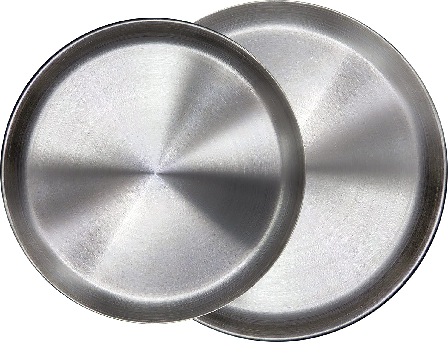 """Immokaz Matte Polished 12.0 inch 304 Stainless Steel Round Plates Dish, for Dinner Plate, Camping Outdoor Plate, Baby safe, Toddler, Kids, BPA Free (1-Pack) (L (12.0""""))"""