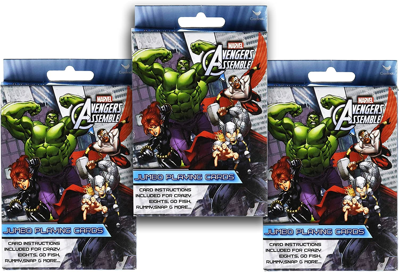 3-Pack Set Marvel Avengers Jumbo Playing Cards (Crazy 8s, Go Fish ...