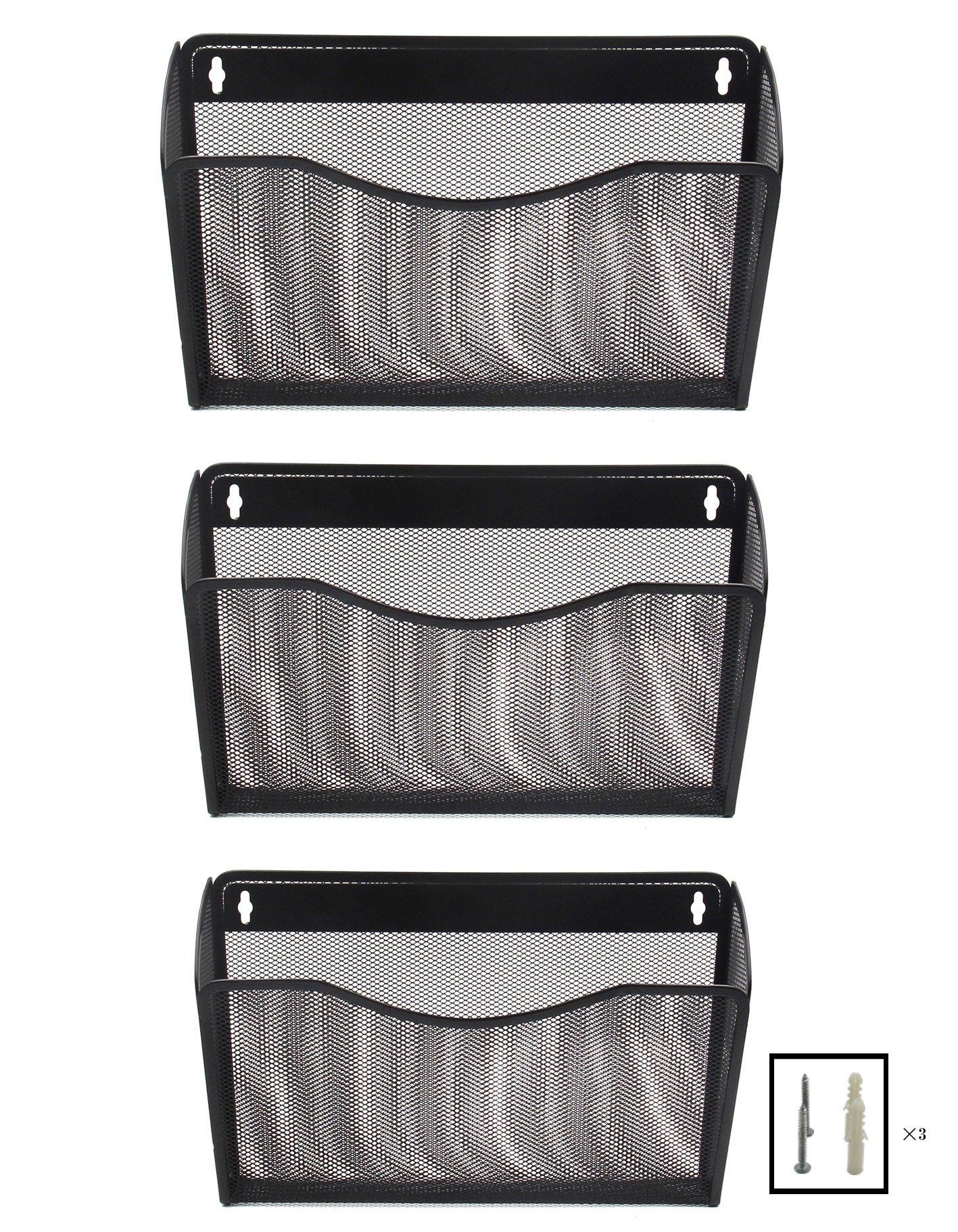 EasyPAG 3 Pocket Office Mesh Collection Wall File Holder Organizer,Black
