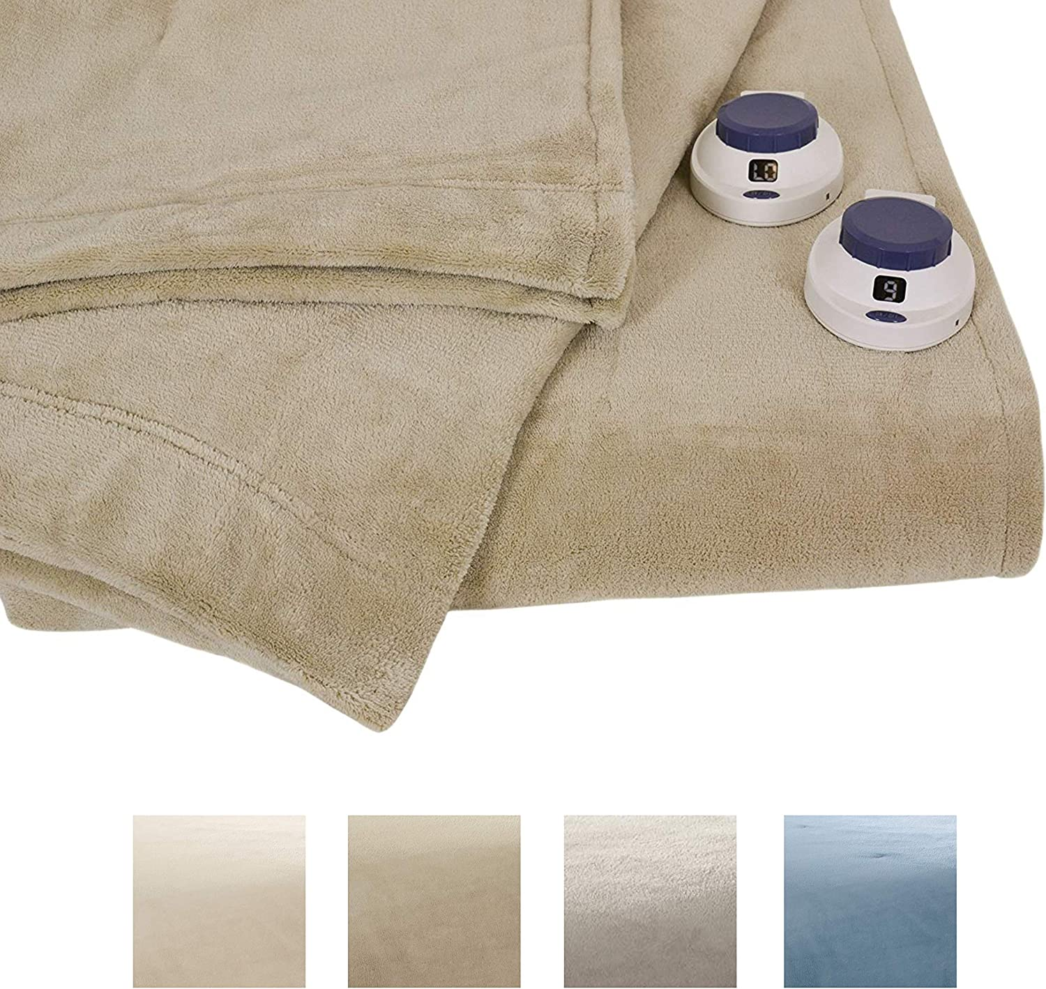 Serta | Luxe Plush Fleece Heated Electric Blanket with Safe & Warm Low-Voltage Technology Queen Pearl: Home & Kitchen