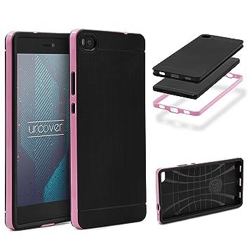 Urcover® Armor Case Neo Hybrid | Huawei P8 | Carcasa Antigolpes TPU + Bumper Silicona en Rosa | Funda Antichoque Resistente Protectora