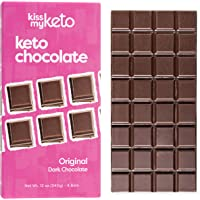 Kiss My Keto Chocolate — Low Carb 100% Sugar Free Chocolate Bars | Original Plain, 4 Bars | Keto Dark Chocolate | No Soluble Corn Fiber, Stevia Sweetened, Infused with MCT Oils