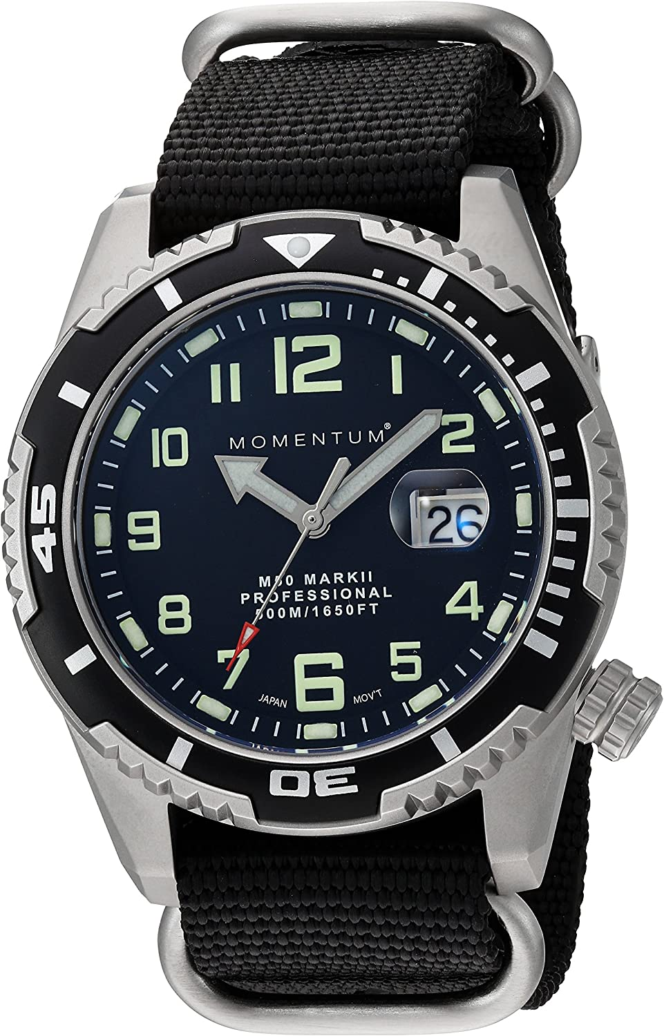 Momentum Men Dive Series Quartz Sports Watch – M50 Series Water Resistant, Easy to Read Dial, Date, Screw Crown, Stainless Steel Case
