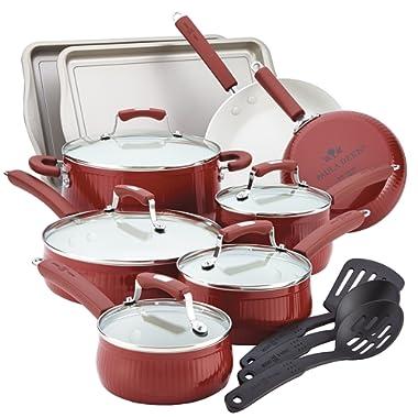 Paula Deen Savannah Collection Aluminum 17-Piece Cookware Set with Bakeware, Red