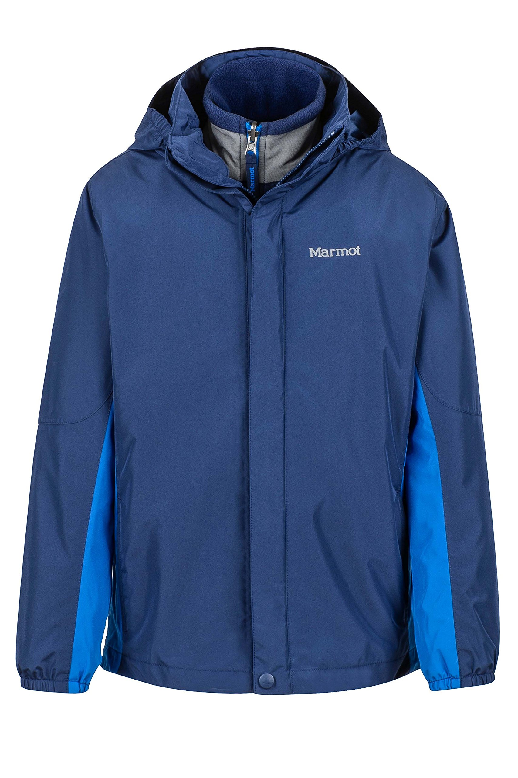 Marmot Northshore Boys' Waterproof Hooded Rain Jacket with Removable Fleece Liner, Arctic Navy/True Blue, X-Large