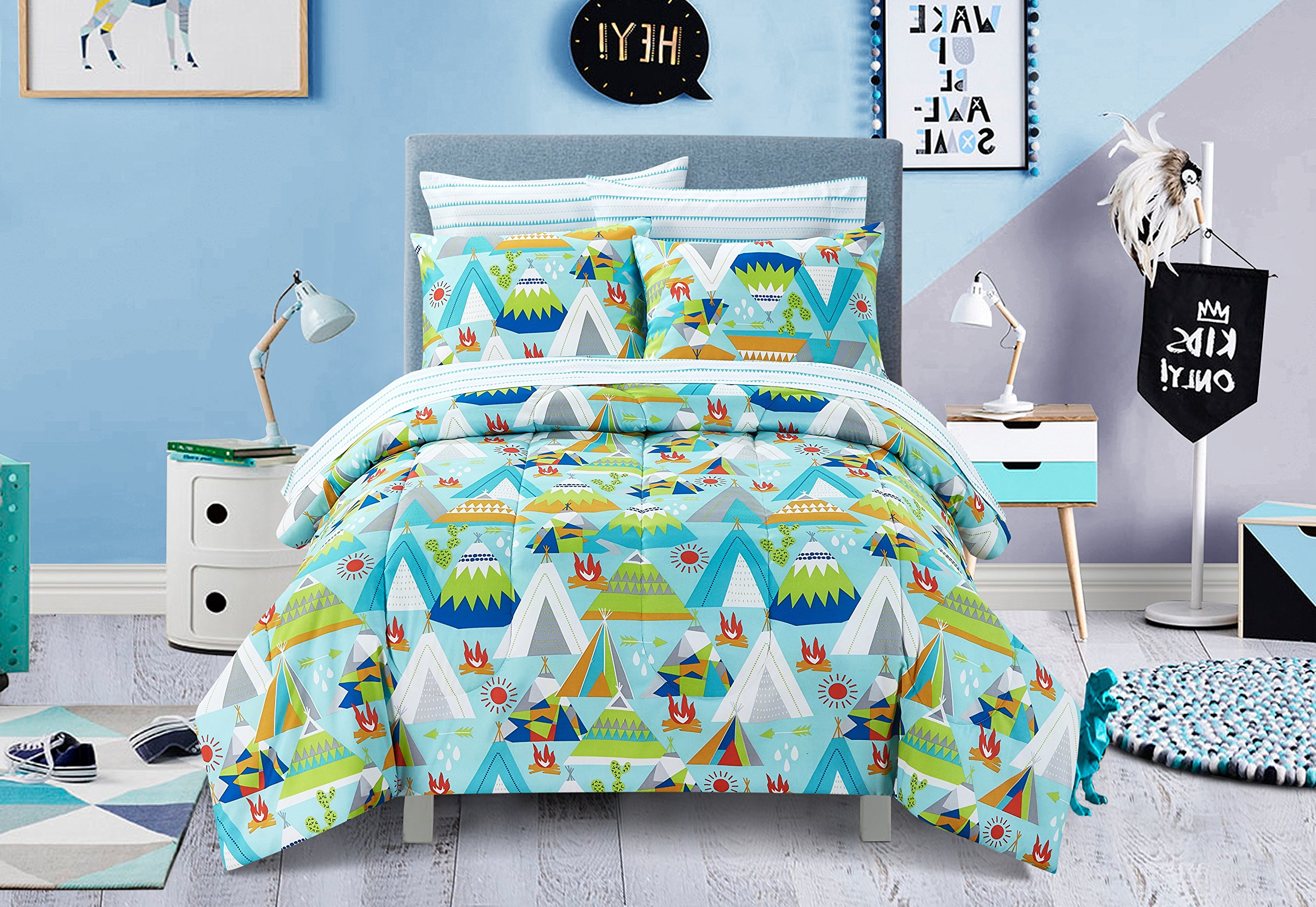 7 Piece Kids Boys Blue Green Camping Comforter Set Full Sized, White Red Picnic Bedding Outdoor Camp Bed in Bag Tents Trees Firewood Arrow Sunny Day Wilderness Forest Jungle Adventure, Polyester