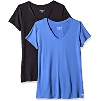 Amazon Essentials 2-Pack Tech Stretch Short-Sleeve V-Neck T-Shirt Mujer, Pack de 2