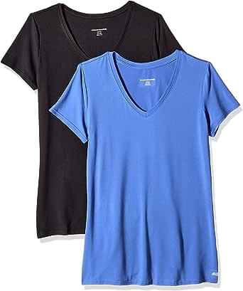 Amazon Essentials Tech Stretch Short-Sleeve V-Neck T-Shirt Mujer, Pack de 2
