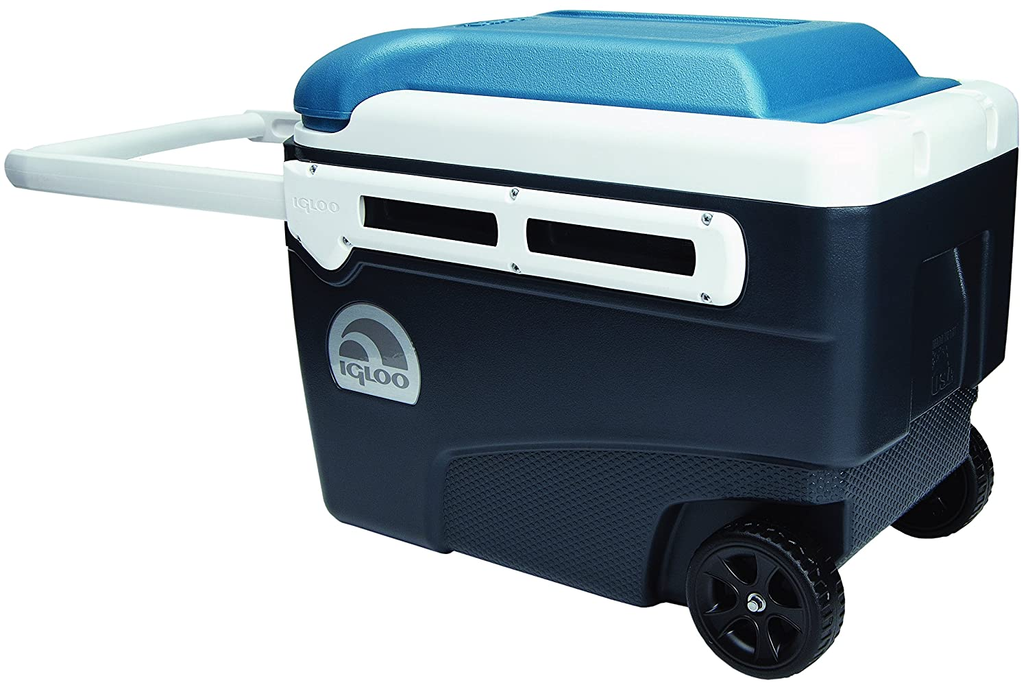 Igloo MaxCold Glide Roller Cooler, Jet Carbon Ice Blau Weiß, 40 quart by Igloo