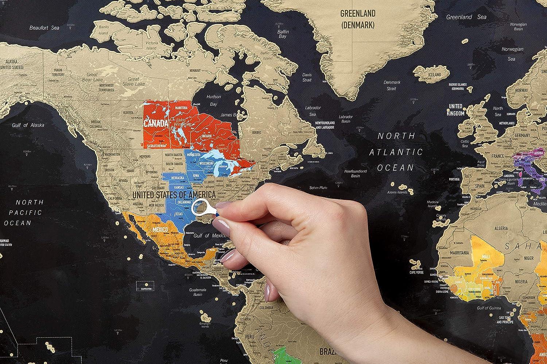mappa dettagliata con bandiere Cornice marrone Premium Quality Incorniciati Mappa del mondo da grattare personalizzato viaggi storia