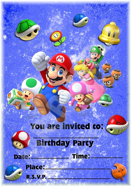 Super Mario fundido fiesta de cumpleaños invitaciones–vertical diseño–fiesta suministros/accesorios (Pack de 12invitaciones A5) WITHOUT Envelopes MrPurple