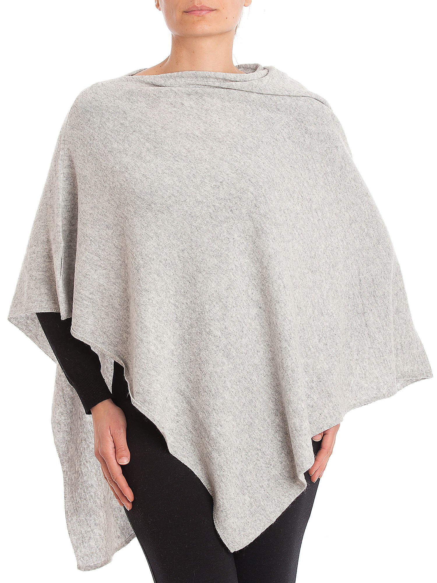 DALLE PIANE CASHMERE - Poncho Cashmere Blend - Made in Italy, Color: Grey, One Size by DALLE PIANE CASHMERE