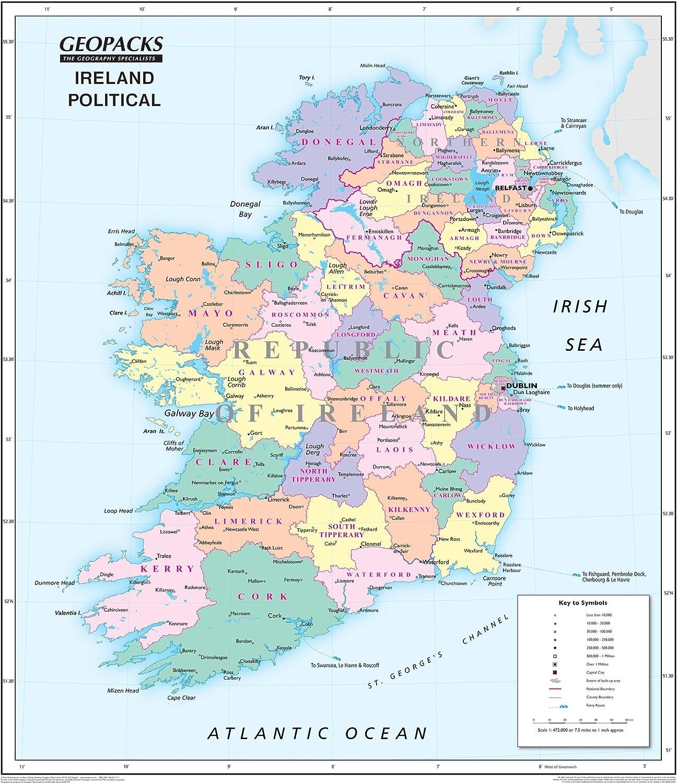 Mapa de Irlanda para niños, mapa de pared laminado político/físico ...