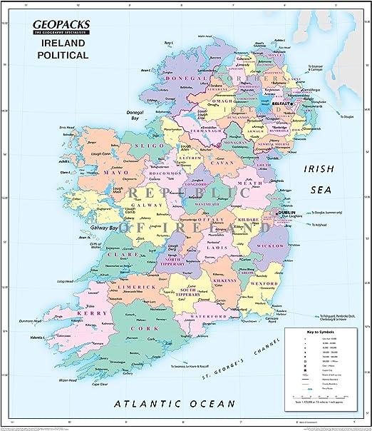 Mapa de Irlanda para niños, mapa de pared laminado político/físico reversible: Amazon.es: Oficina y papelería