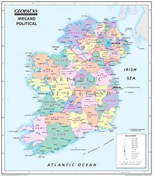 Childrens Ireland Map Reversible PoliticalPhysical Laminated - Physical map of ireland