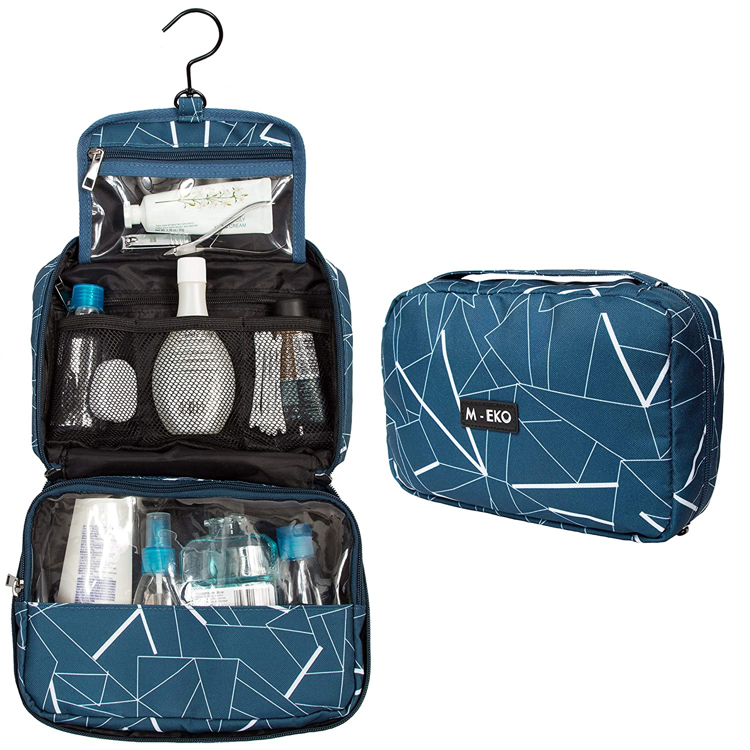 Large Hanging Toiletry, Cosmetic And Travel Bag For Men and Women Made Of Water Resistant Polyester With A Quality Zipper And 360 Swivel Hook