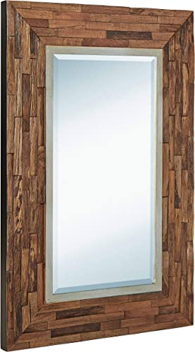 Hamilton Hills Rustic Natural Wood Framed Wall Mirror | Solid Construction Glass Wall Mirror | Vanity