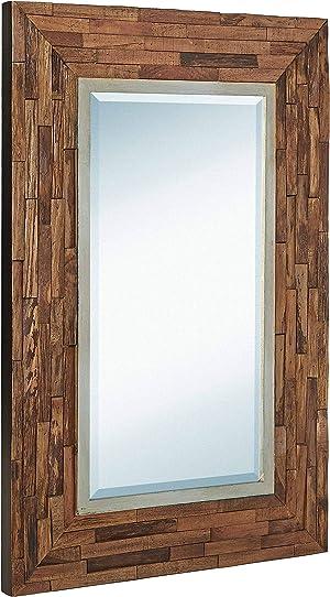 Hamilton Hills Rustic Natural Wood Framed Wall Mirror | Solid Construction Glass Wall Mirror | Vanity, Bedroom, or Bathroom | Hangs Horizontal or Vertical (24
