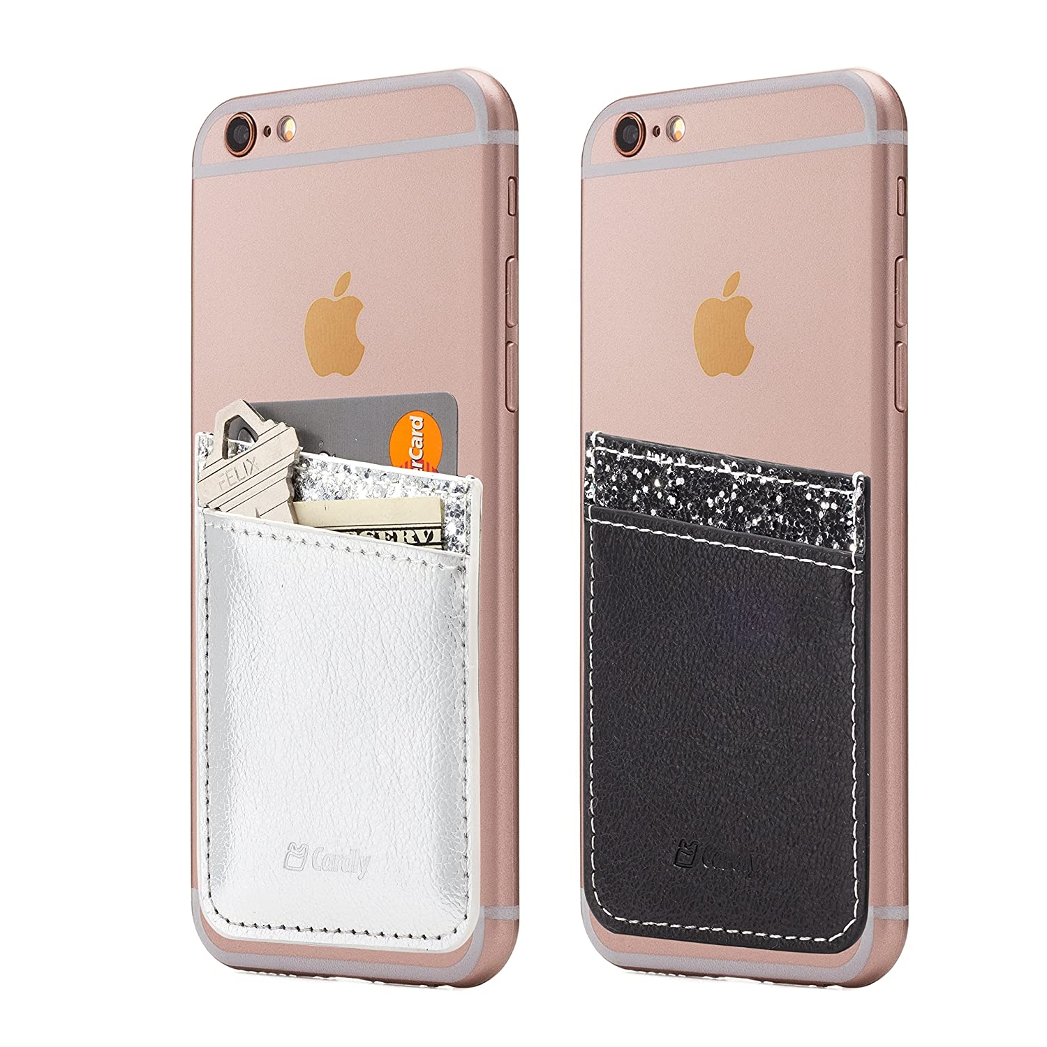 (Two) Cell Phone Stick On Wallet Card Holder Phone Pocket For iPhone, Android and all smartphones. (Silver&Black Foil) Cardly