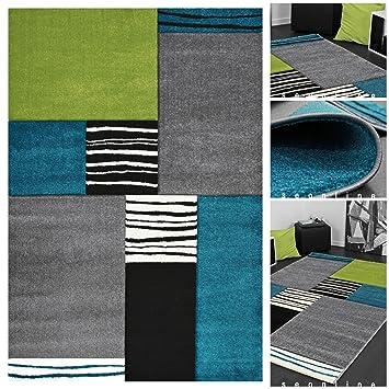 Design exclusif tapis moderne à carreaux avec effet 3D gris/bleu ...