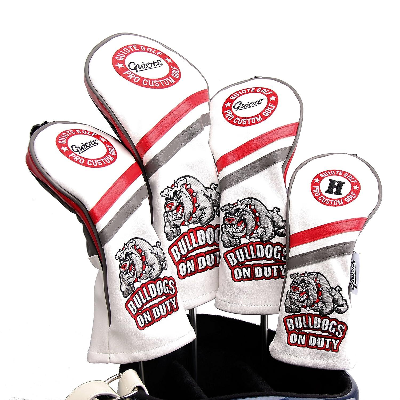 Guiote ゴルフヘッドカバー Golf head covers クラブヘッドカバー ウッドカバー ドライバー 新デザイン 交換可能な番号タグ付き(#2.#3.#4.#5.X) 4個セット B076NLMW6B  Bulldogs-White