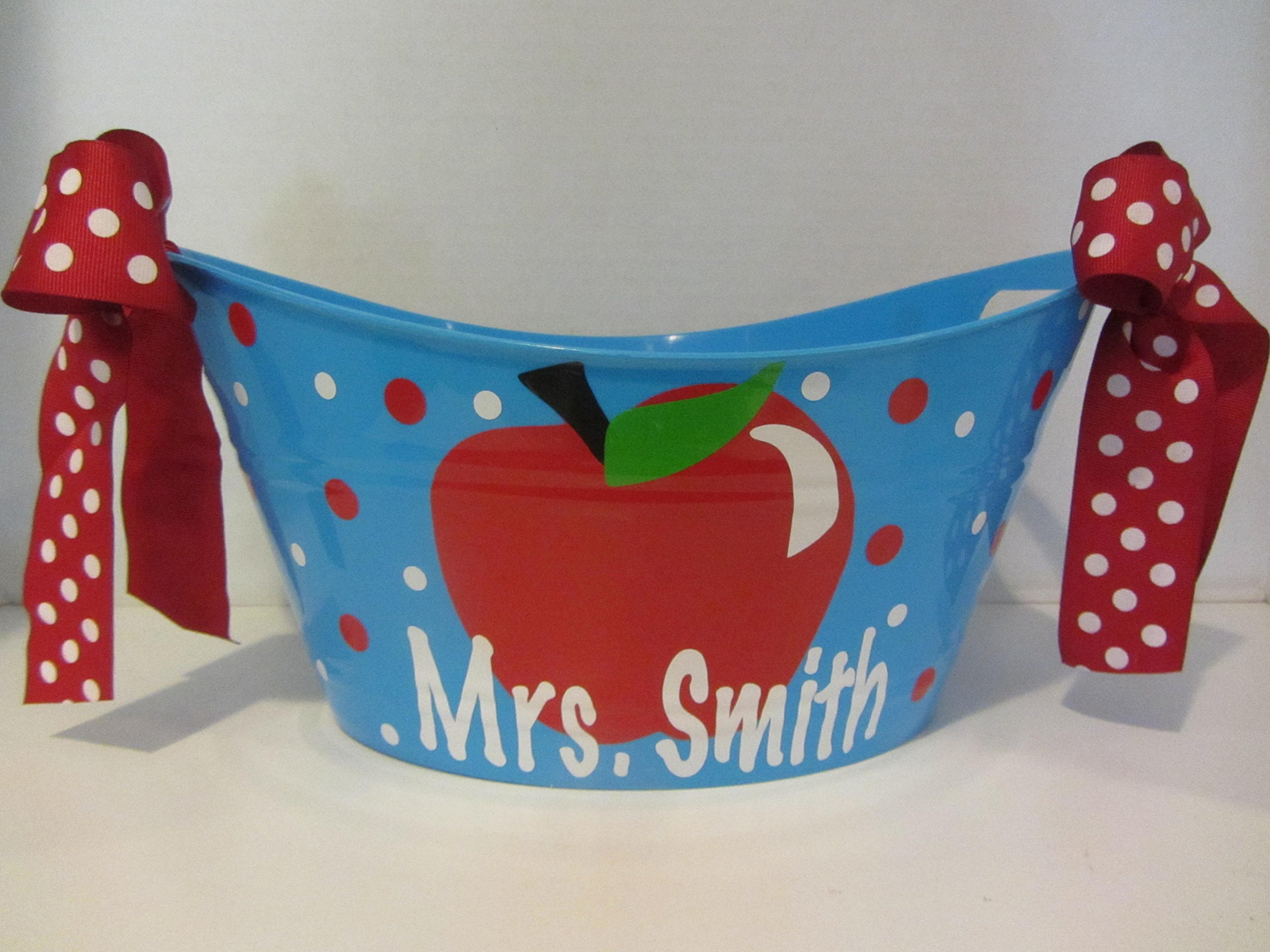 Teacher gift tub - personalized - apple design