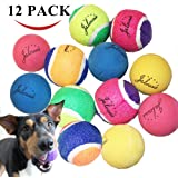 Jalousie 12 Pack Puppy Dog Ball Toy Set (6 Tennis Rubber Ball and 6 High Bounce Rubber Ball) for small medium large breed Pet Puppy Mutt Dog